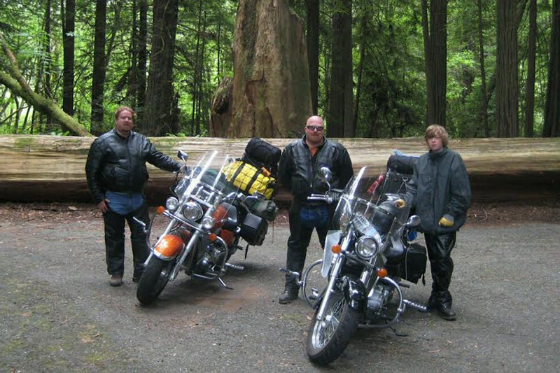 Sweet Pea Kennels team on a Motorcycle ride in the Redwoods. Our team not only runs our boarding kennels in Cape Girardeau county, but we also love having adventures all over the country.